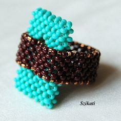 turquoise brown seed bead ring, Right Angle Weave, OOAK Beaded turquoise brown seed bead ring Right Angle Weave by SzikatiBeaded turquoise brown seed bead ring Right Angle Weave by Szikati Beaded Rings, Beaded Jewelry, Beaded Bracelets, Jewellery, Jewelry Patterns, Bracelet Patterns, Seed Bead Earrings, Seed Beads, Bracelets