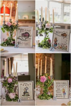 Alice in Wonderland Wedding - took pages from the book and framed them for the tables. Cute idea!