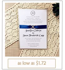 modern blue satin ribbon rhinestone layered wedding invitations