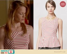 Daphne's red and white striped peplum top on Switched at Birth.  Outfit details: http://wornontv.net/17302/