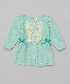 Love this Mint Polka Dot Lace Button-Up Tunic - Girls by orange poppy kids on #zulily! #zulilyfinds