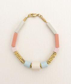 Pastel wood craft bracelet