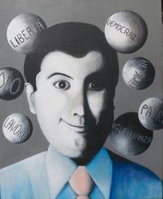 Titolo:Imprenditore con le sue palle  Descrizione:  Misure:55 x 45  Tecnica:Acrilico su legno  Anno:2010