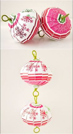Striped Balls - 20 Hopelessly Adorable DIY Christmas Ornaments Made from Paper