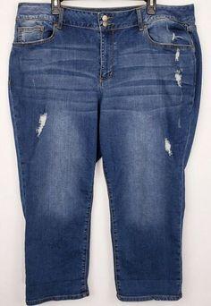 b097acbd423ab CATO 1946 Denim Womens Plus Size 22W Blue Capri Jeans Distressed Classic  Stretch  Cato Capri