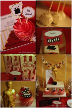 oscar/movie party ideas - cup cake with sign