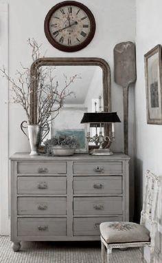 ♅ Dove Gray Home Decor ♅  rustic grey hallway bureau and vignette