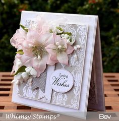 All the things I love: New Lily Die Set - Whimsy Stamps August Release Wedding Cards Handmade, Handmade Birthday Cards, Pretty Cards, Cute Cards, Whimsy Stamps, Digi Stamps, Poinsettia Cards, 50th Birthday Cards, Small Cards