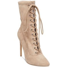 Steve Madden Women's Satisfied Lace-Up Stiletto Booties (485 RON) ❤ liked on Polyvore featuring shoes, boots, ankle booties, taupe suede, pointy toe booties, high heel stilettos, stiletto booties, pointed toe booties and suede boots
