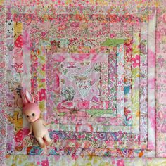 Liberty Art Fabric Log Cabin Cushion Front Alice in Wonderland White Rabbit