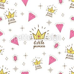 Hand drawn seamless vector pattern for little princess. Background for design, web site, textile, fabric, card and wrapping paper. Bebe Vector, Free Vector Art, Little Princess, Vector Pattern, Pattern Design, Fabric Cards, Princess Drawings, Design Elements, How To Draw Hands