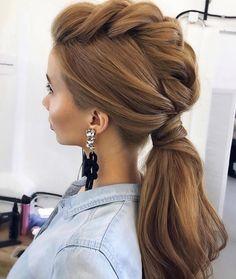 Elegant ponytail or is a plaittail?? #Repost @ulyana.aster  @tonyastylist  Who is your FAVOURITE stylist ? Wed love to know . . . . . . #hairstyles #hair #tutorial #bridetobe #hudabeauty. #yourdayyourway #weddinghair #updo #plait #braid #bridalhair