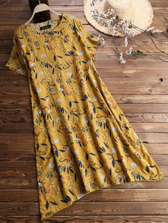 Cheap best O-NEWE Vintage Printed Short Sleeve V-Neck Dress for Women on Newchic, there is always a plus size print dresse suits you! Plus Size Vintage Dresses, Nice Dresses, Casual Dresses, Blouse Dress, V Neck Dress, Womens Denim Dress, Cheap Summer Dresses, Plus Size Blouses, Plus Size Fashion