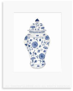 Blue and White Chinoiserie Ginger Jar - original Watercolor Art print, Wall Art, Decor | Lobird.com