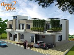 Modern 4 bedrooms duplex (2 floors) in 456m2 (24m X 19m). Click link (http://www.apnaghar.co.in/house-design-138.aspx)  to view free floor plans (naksha) and other specifications for this design. You may be asked to signup and login. Website: www.apnaghar.co.in, Toll-Free No.- 1800-102-9440, Email: support@apnaghar.co.in