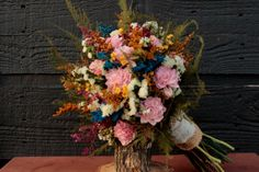 Rustic Chic Wedding Bouquet, Medium Bridal Bouquet, Country Chic, Dried Flower Brides Bouquet, Pink Sola Flower Bouquet with Wild Flowers