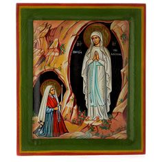 Our Lady of Lourdes painted Greek icon inc Sale: Our Lady of Lourdes painted Greek icon inces. Greek icon painted by hand according to the tradition of the Apparition of Our Lady of Lourdes. Santa Bernadette, Greek Icons, Our Lady Of Lourdes, Online Sales, Painting, Inspiration, Art, Biblical Inspiration, Craft Art