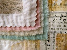 """Sewing layers with paper, material, & tea bag papers.  Via """"art in red wagons"""""""