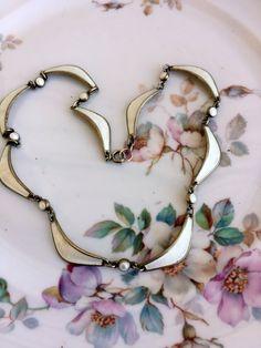 Vintage Albert Scharning Norway White Enamel Leaf Necklace Gold wash 925S by Holliezhobbiez on Etsy