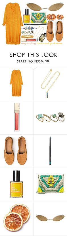 """""""Easy Outfitting: Throw-and-Go Dresses"""" by miica-olavarria ❤ liked on Polyvore featuring Indress, Jennifer Meyer Jewelry, Clarins, Pull&Bear, Garance Doré, MAC Cosmetics, Antik Batik, Acne Studios and Irene Neuwirth"""