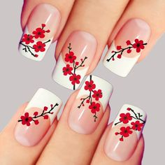 Nail art is a very popular trend these days and every woman you meet seems to have beautiful nails. It used to be that women would just go get a manicure or pedicure to get their nails trimmed and shaped with just a few coats of plain nail polish. Nail Art Designs, Flower Nail Designs, French Nail Designs, Nails Design, Rose Nail Art, Rose Nails, Flower Nail Art, Cherry Nail Art, French Nails