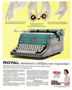Announcing a brilliant new typewriter! Vintage Advertisements, Vintage Ads, Vintage Posters, Retro Ads, Royal Typewriter, Famous Photos, Vintage Office, Vintage Typewriters, Desk Set