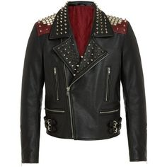 Punk Rock Leather Biker Jacket RADDAR7 ($636) ❤ liked on Polyvore featuring outerwear, jackets, 100 leather jacket, leather jacket, genuine leather jacket, punk leather jacket and real leather jacket