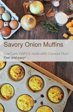 These delicious savory low-carb muffins are made with coconut flour and are suitable for the GAPS, SCD, Primal, and Low Carb diets. They come together quickly!