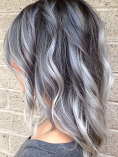 LOVE this hair!! Already have this cut -- Interesting, my new hair growth is silver, why not work it into a cool new hair style? Grey ombre pastel hair Black Ombre, Silver Ombre Short Hair, Gray Hair Color Ombre, Brown And Silver Hair, Grey Hair Foils, Grey Hair With Purple Highlights, Black And Grey Hair, Blue Gray Hair, Pastel Ombre Hair