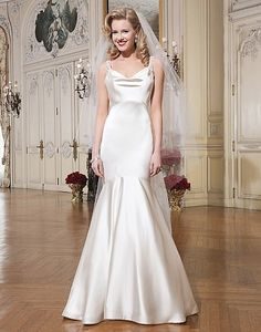 Justin Alexander Spring 2015 Wedding Dresses - Luxe charmeuse mermaid dress accentuated by a cowl neckline. #wedding #dresses #gown #bridal #love