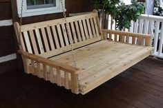 Aspen Tree Swinging Daybed Cedar Hanging Bed Swing for Porch Pergola - Large Traditional Mission Style Outdoor Swing Bed - Amish Custom Made Deep Wood Swings - Cushion/Pillows Not Included Porch Bed, Porch Swings, Bed Swings, Diy Swing, Swing Beds, Hanging Beds, Pergola Swing, Pergola Ideas, Red Bedding