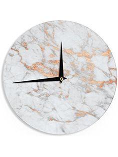 """KESS InHouse KESS Original """"Rose Gold Flake"""" White Pink Wall Clock, 12"""" ❤ KESS InHouse"""