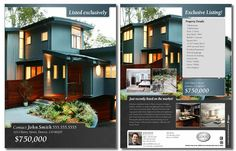"""""""Listed Exclusively"""" 2 Sided Flyer. This one is good if you have a nice horizontal photo. Clean and elegant look. Also easy to customize with the free tool."""