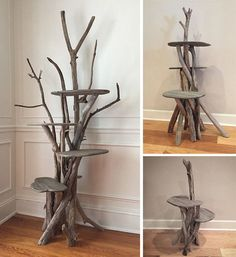 These beautiful cat trees are custom made from reclaimed driftwood, a great material for a cat tree! Each one is unique and made to order by Custom Driftwood Art in Florida. The larger trees are only available for local pickup but the smaller trees can be Cat Tower Plans, Diy Cat Tower, Cat Castle, Cat Tree House, Tree Plan, Cat Perch, Cat Shelves, Cat Condo, Unique Cats