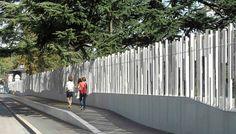 Behnisch Architekten / WTO Security Perimeter Landscape Walls, Urban Landscape, Landscape Architecture, Landscape Design, Fence Wall Design, Fence Design, Fasade Design, Security Architecture, Chinese Courtyard