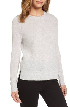 Slip into the decadent softness of pure cashmere knit with this side-slit pullover available in a drawerful of colors, plus a striped option.