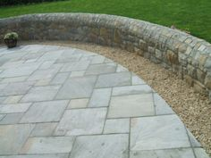 Limestone paving & gravel to edge