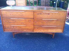 Heywood Wakefield Cafe Walnut 6 drawer Dresser Chest Mid century Modern 1962 #HeywoodWakefieldManufacturing