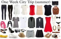 City Trip Packing List by diamte featuring a peplum blouse  A quick packing list for a one week tripto the city in the summer. 2 pairs of basic jeans, 3 nice tops, 1 blouse, 3 tees, 1 longish cardi, 1 blazer, 1 day to night dress, 2 scarves (for colour), 2 pairs of flats, 1 pair of heels (evening), 1 pair sneakers, 1 all day light weight satchel, 1 purse, 1 swimsuit, undergarments + socks + toiletries etc. , versatile jewelry, 1 pair of shorts, 1 skirt, 1 pair of sandals, 1 pair stud…