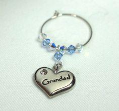 Wine Charm, Wine Glass Charm, Grandad, Swarovski Crystal Charm, Birthday Gift, Wedding Favour
