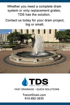 Need a complete drainage system or just replacemnt grates? Contact TDS today at 610-882-3630, or shop our online store DrainageKits.com #water #drains #trenchdrainsystems #draingrates #catchbasin #landscape #streetscape #parkinglot #patio #pool #driveway Trench Drain Systems, Drainage Channel, Drainage Solutions, Fountain, Outdoor Decor, Patio, Landscape, Store, Scenery