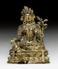GRÜNE TARA. Tibetochinesisch, Kangxi-Periode, H 22 cm.