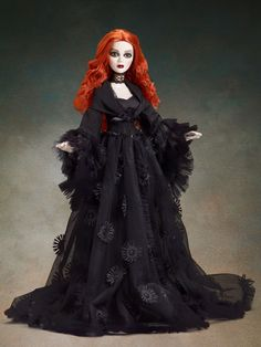 Evangeline Ghastly has Dark Dreams beneath her hazel green eyes and rooted hair of flame. This beauty features a black satin dress that almost seems understated for Evangeline. Barbie Gowns, Barbie Clothes, Poppy Parker, Gothic Dolls, Valley Of The Dolls, Dream Doll, Barbie Princess, Living Dolls, Creepy Dolls