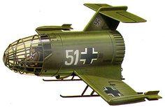 """Dinkel GX """"KLEINEFEUERWERKSWAFFE""""-- Cuenta la leyenda que, ya en los últimos meses de la Segunda Guerra Mundial, el Reichsmarshal Hermann Goering decidió poner en marcha cuatro de ellos, lleno de fuegos artificiales, para entretener a Adolfo Hitler. Los cuatro Dinkel GX volaron hasta el cielo, e intentaron dibujar una cruz gamada para el deleite del Führer. Sin embargo, cuando los aviones se dirigían hacia el centro del dibujo, chocaron entre sí y se desplomaron envueltos en llamas."""