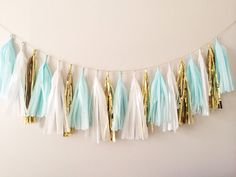 Mint Blue and Gold Tassel Garland on Gold Rope - Spring Decor, Easter Decor, Baby Shower and Party Decoration on Etsy, $27.00