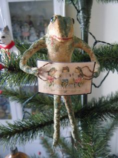 Antique Style Spun Cotton Frog Feather Tree by ornamentsbypink