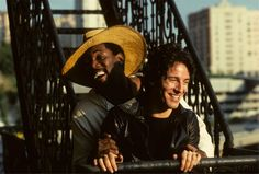 Bruce Springsteen and Clarence Clemons on a rooftop 1978