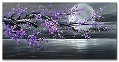 Buy Konda Art Framed Hand Painted Modern Abstract Painting Cheery Blossom Purple Flower Canvas Art For Wall Decoration Stretched (Framed W x H) Flower Canvas Art, Flower Wall, Moon Painting, Acrylic Painting Canvas, Purple Wall Art, Oil Painting Flowers, Abstract Wall Art, Purple Flowers, Framed Art