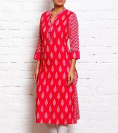 #Pink Block Print #Kurta at #Indianroots