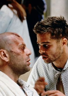 """12 Monkeys (1995) starring Bruce Willis and Brad Pitt. """"There's no right, there's no wrong, there's only popular opinion."""""""